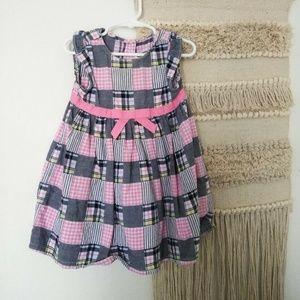 Girls/Toddler Summer Dress- Plaid Pink- 18-24 Mos